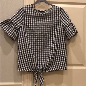 Gingham navy blur and white